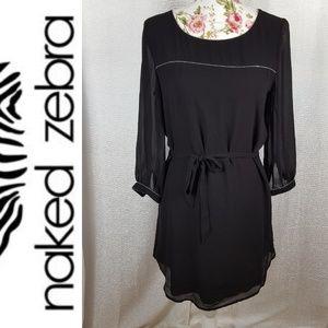 NAKED ZEBRA Chain Embellished Black Shift Dress